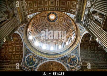 the dome of St. Peter's Basilica by Michelangelo, Italy, Vatican City, Rome - Stock Photo