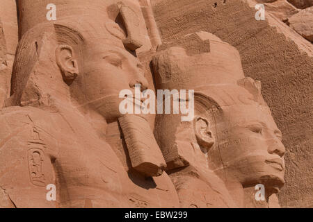 detail of colossal statues of Ramesses II. of the Abu Simbel temple, Egypt, Abu Simbel - Stock Photo