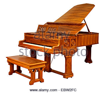 luxurious grand piano with stool - Stock Photo