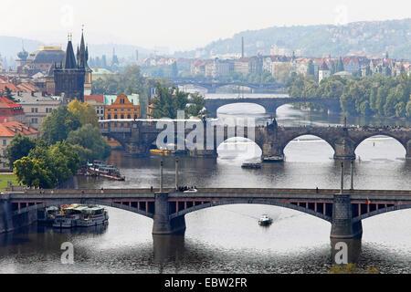 Bridges over the Vltava River in Prague, Czech Republic, Prague - Stock Photo