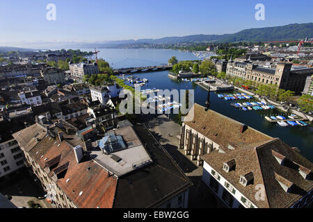 view of Zurich with Limmat river and lake Zuerichsee from tower Grossmuenster, Switzerland, Zuerich - Stock Photo