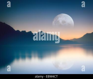 CH - VAUD: Moon over Lake Geneva - Stock Photo