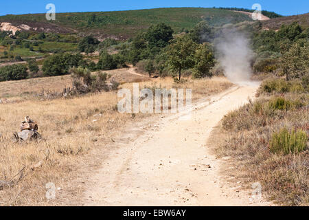 dusty landscape on the Way of St James with whirlwind between Rabanal and Camino nach Foncebad�n, Spain, Kastilien - Stock Photo