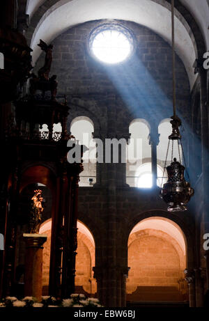 light beams in the cathedral, Spain, Galicia, A Coru�a, Santiago De Compostela - Stock Photo
