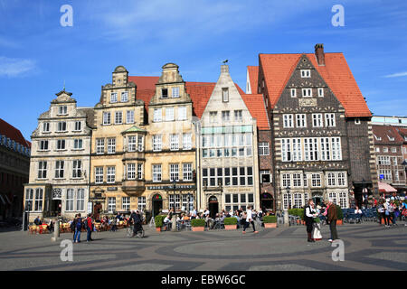 historical houses on town hall square, Germany, Bremen - Stock Photo