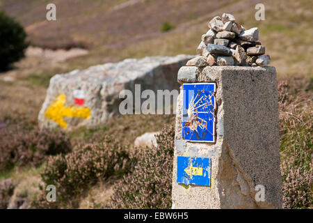 signpost at Camino de Santiago between St. Jean Pied de Port and Roncesvalles, France, Pyr�nn�es-Atlantiques, Basque - Stock Photo