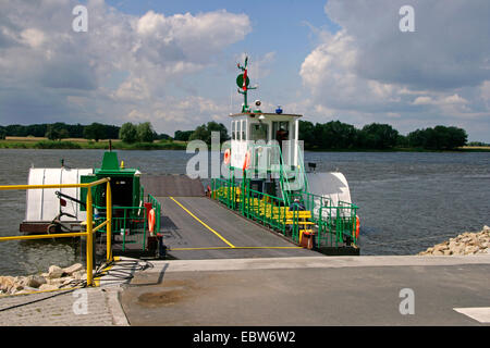 car ferry at riverbank of Elbe between Poland and Germany, Poland, West Pomeranian Voivodeship, Gozdowice - Stock Photo