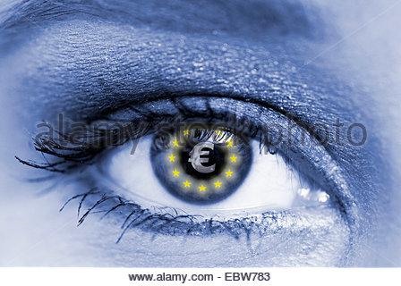 woman's eye with Euro symbol - Stock Photo