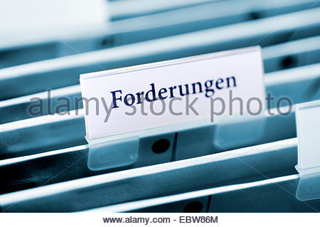 tab of hanging file folders labeled 'receivables ' - Stock Photo