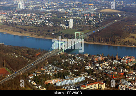 aerial view of Cologne Rodenkirchen Bridge, Germany, North Rhine-Westphalia, Cologne - Stock Photo