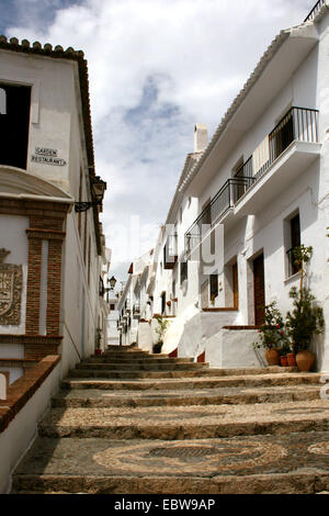 stairway in white village, Spain, Andalusia, Frigiliana - Stock Photo