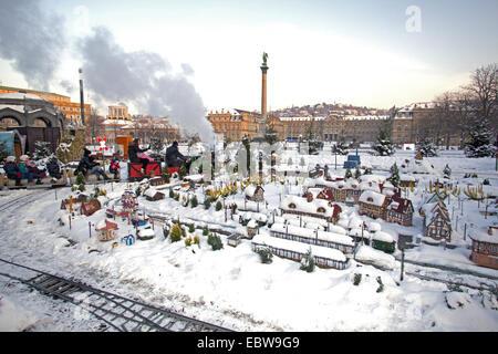 miniature train at Christmas fair, Germany, Baden-Wuerttemberg, Stuttgart - Stock Photo