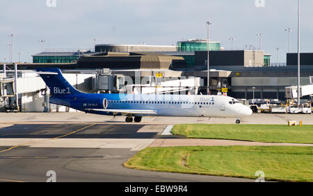 Blue1 Boeing 717 (OH-BLG), taxiing at Manchester International Airport. - Stock Photo