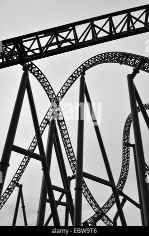 Abstract view of roller coaster track construction ...