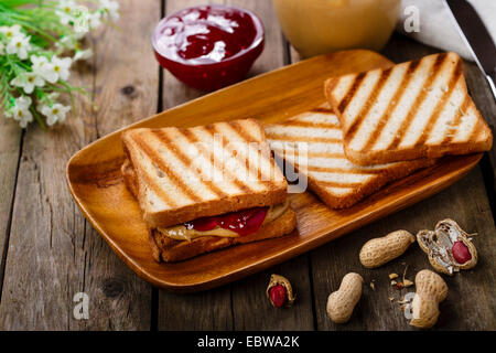 peanut butter sandwich with jam - Stock Photo