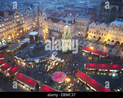 View looking down on the traditional Christmas Market in the Old Town Square in Prague at night - Stock Photo