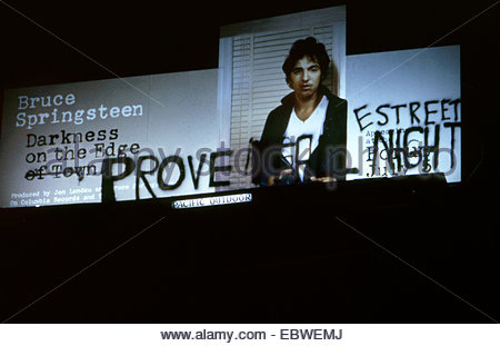 Bruce Springsteen self grafitied billboard on the Sunset Strip circa 1978 - Stock Photo