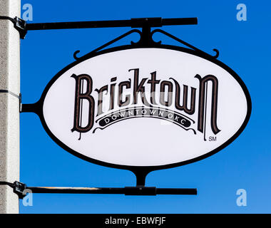 Sign in the historic Bricktown district of Oklahoma City, OK, USA - Stock Photo