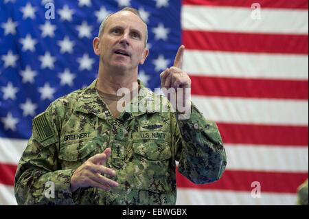 US Chief of Naval Operations Adm. Jonathan Greenert during an all-hands call with service members and civilians - Stock Photo