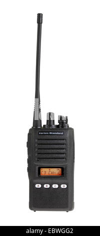 Black walkie talkie for communication isolated on white background - Stock Photo