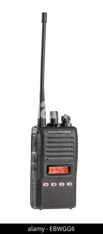 Black walkie talkie for communication isolated on white background - Stock Photo
