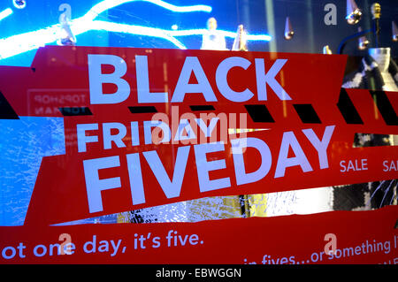 Black Friday sale sign in the window of a store, Vancouver, BC, Canada - Stock Photo