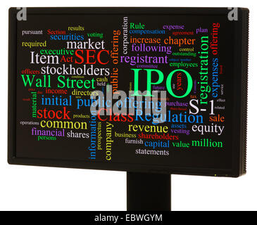 IPO, initial public offering, word cloud - Stock Photo