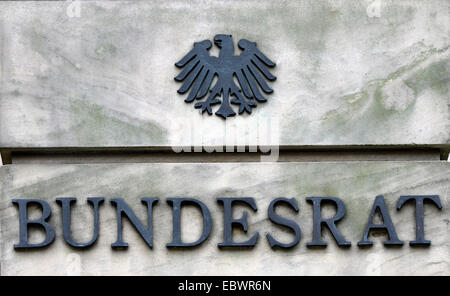 Lettering on the main gate 'Bundesrat', federal council, Berlin, Berlin, Germany - Stock Photo
