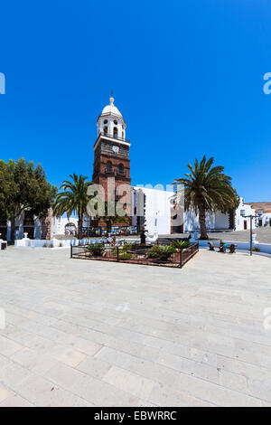 Iglesia de Nuestra Señora de Guadalupe, Plaza de la Constitución, Teguise, Lanzarote, Canary Islands, Spain - Stock Photo