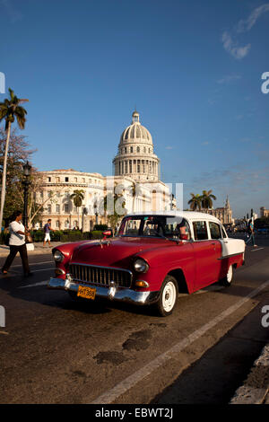 American classic cars and the Capitol, Havana, Cuba - Stock Photo