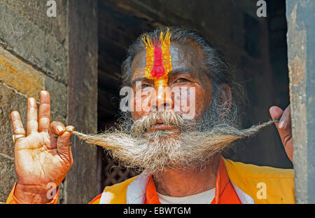 portrait of a Sadhu in Pashupat, Nepal, Kathmandu - Stock Photo