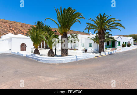 Typical white Canarian houses in Los Valles, Lanzarote, Canary Islands, Spain - Stock Photo