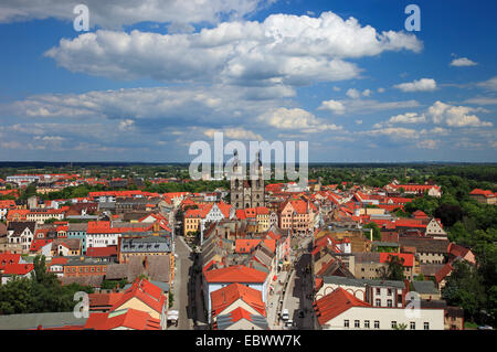 view from  to market square, town hall and city church, Germany, Saxony-Anhalt, Wittenberg - Stock Photo