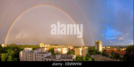 rainbow over St Peter in Graz, Austria, Styria, Graz - Stock Photo