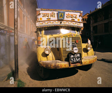 brightly-painted truck, Nepal, Kathmandu - Stock Photo