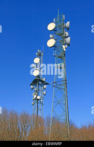radio masts on Hoherodskopf, Vogelsberg, Germany, Hesse - Stock Photo