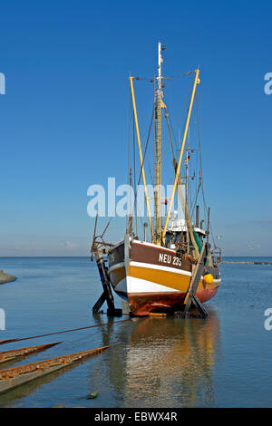 Fishing Boot in Neuharlingersiel, Germany, Lower Saxony, East Frisia - Stock Photo