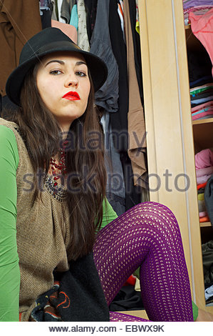 Woman in fish net stockings stock photo royalty free for Garderobe young