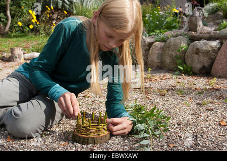 girl building an Easter basket from a tree disc, willow twigs, moss, daisies and coloured eggs; 3. step: weaving - Stock Photo
