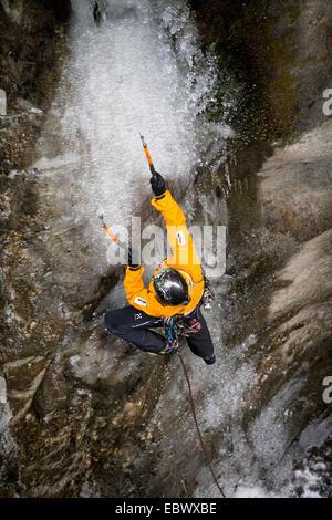 ice climber in the Sigmund-thun-Klamm, Austria, Kaprun - Stock Photo