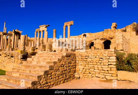 Historical 2nd Century Roman Theater ruins in Dougga, Tunisia - Stock Photo