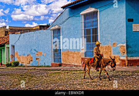 Old man with his donkey for rides on streets of old village, Cuba, Trinidad - Stock Photo