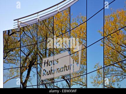 reflections in the glas cladding of House Ruhrnatur in Muelheim/Ruhr, Germany, North Rhine-Westphalia, Ruhr Area, Muelheim an der Ruhr
