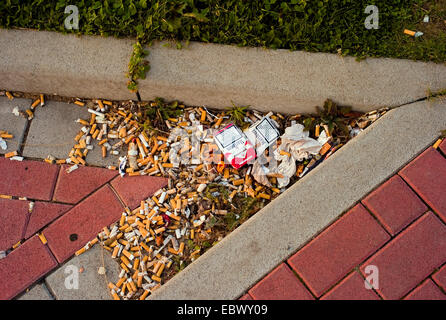content of a car ash-trays left at a motorway station, Germany - Stock Photo