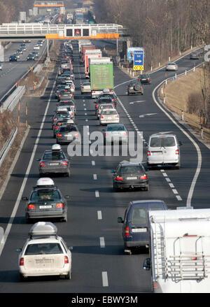 traffic jam on Austrian highway, Austria, Tyrol, Kufstein-West - Stock Photo
