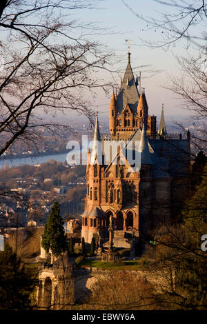 Drachenburg palace on Drachenfels at Rhein river, Germany, North Rhine-Westphalia, Siebengebirge, Koenigswinter - Stock Photo