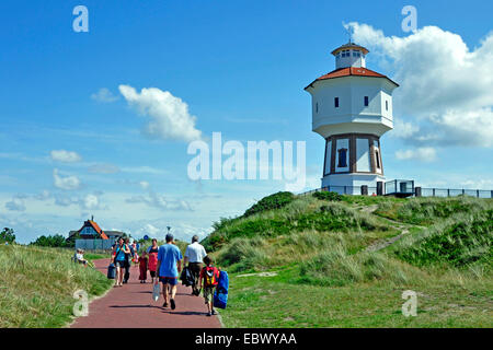 tourists at the water tower on Langeoog island, Germany, Lower Saxony, Langeoog - Stock Photo