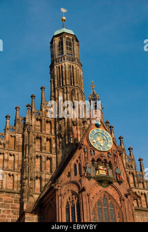 Frauenkirche, Church of Our Lady at main market, Germany, Bavaria, Franken, Franconia, Nuremberg - Stock Photo