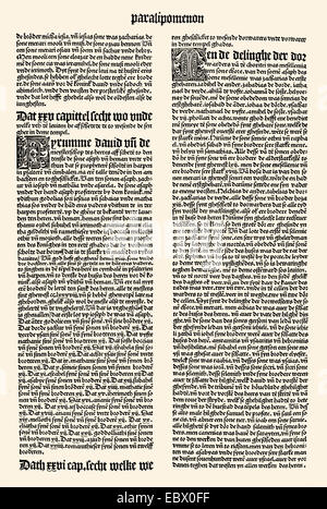 Page of the Bible in Middle Low German, printed by Steffen Arndes 1494 in Lübeck, Germany, Europe,  Seite der mittelniederdeutsc - Stock Photo