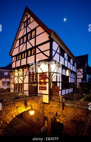 timbered house at Petri church in the old city at blue hour, Germany, North Rhine-Westphalia, Muelheim an der Ruhr - Stock Photo